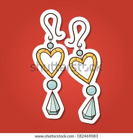 Hearts earrings. Paper sticker imitation. Romantic tender design - stock photo