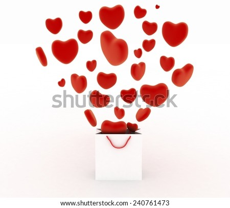 Hearts falling as gifts in a bag supermarket. The concept of a gift with love. 3d render illustration on a white background - stock photo