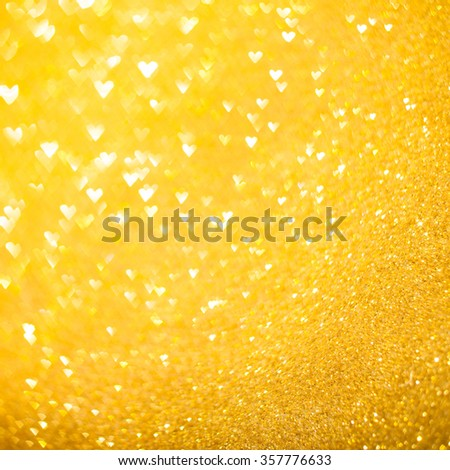 Hearts gold bokeh - stock photo