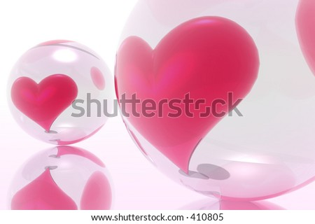 Hearts illustrated on the glass ball. Transparency for trust. - stock photo