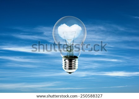 hearts in light bulb with the power of nature,idea concept  - stock photo