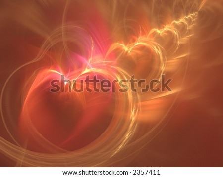 Hearts in line, 3d rendering in red and orange, very suitable as a background - stock photo