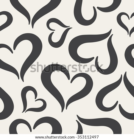 Hearts seamless pattern. Black and white Valentine's Day background. Stylized cute heart shapes made of two curved parts. Hearts of different sizes monochrome texture. Raster version. - stock photo