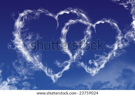 Hearts shaped clouds on sky - stock photo