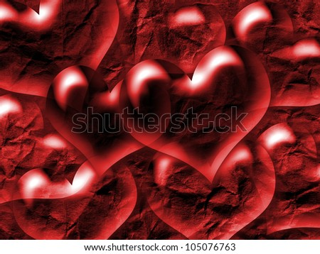 hearts, with a grungy background texture - stock photo