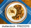 Hearty beef stew with mashed potatoes dinner - stock photo