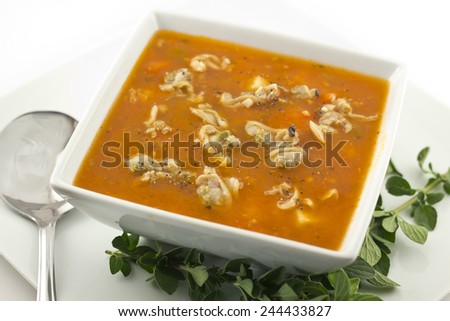 Hearty Manhattan Clam Chowder soup with fresh oregano - stock photo