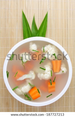 Hearty Vegetable soup. Stew with carrots and cauliflower. . - stock photo
