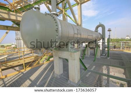 Heat exchanger in refiner plant - stock photo