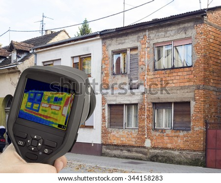 Heat Loss Comparison with Infrared Camera - stock photo