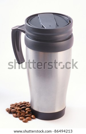 Heat protection-thermos coffee cup isolated on white - stock photo