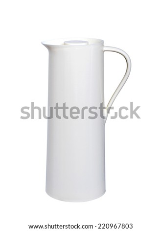 Heat protection-white thermos for coffee mug, isolated on white Backgrounds - stock photo