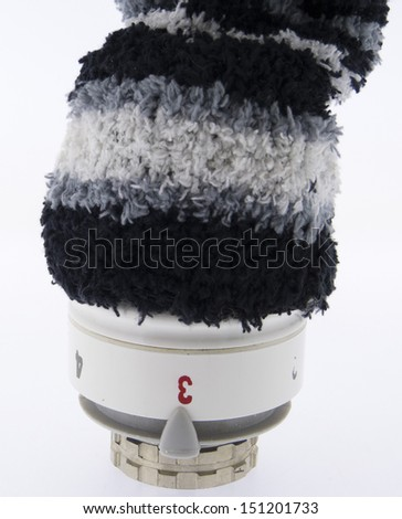 Heater Thermostat isolated with Cap made of wool - stock photo