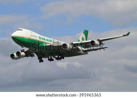 Heathrow/England August 10, 2012: Boeing 747 from Eva Air landing at Heathrow/Airport. - stock photo