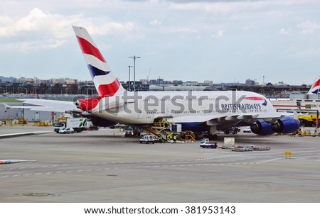HEATHROW, ENGLAND -3 FEBRUARY 2016- An Airbus A380 double-decker jumbo jet airplane from British Airways (BA) at London Heathrow Airport (LHR). - stock photo