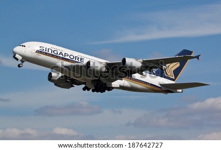 HEATHROW, LONDON, UK - April 10: Singapore Airlines Airbus A380 (9V-SKK) taking off on April 10, 2014 at London Heathrow Airport, London, UK.  - stock photo