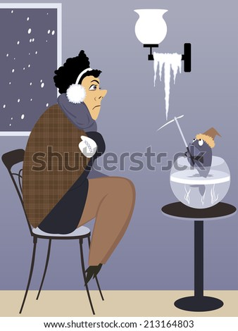 Heating problem in the house. Freezing man and his pet fish with an ice pick looking at a icicle  - stock photo