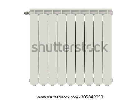 heating radiator isolated on white background - stock photo