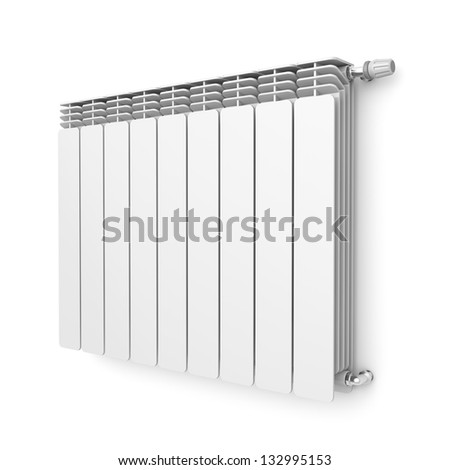 Heating radiator with thermostat attached on wall - stock photo