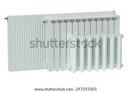 heating radiators isolated on white background - stock photo