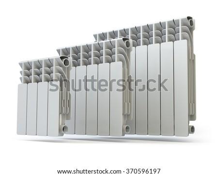 Heating radiators isolated on white background. 3d - stock photo