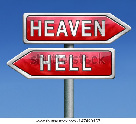heaven and hell devils and angels good or bad god or satan road sign arrow with text - stock photo