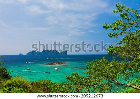 Heaven Seascape Palm Island  - stock photo
