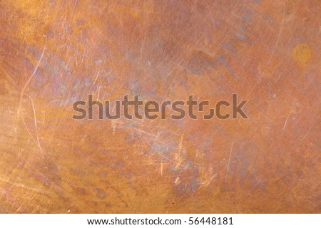 Heavily worn copper texture surface. Even focus across surface. - stock photo
