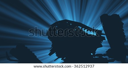 Heavy armed Mechanized Intelligent Vehicle silhouette . Original creation and modeling by the author. - stock photo