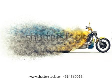 Heavy bike particle disintegration - stock photo