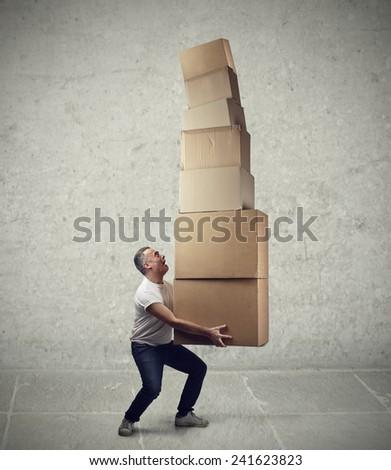 Heavy boxes  - stock photo