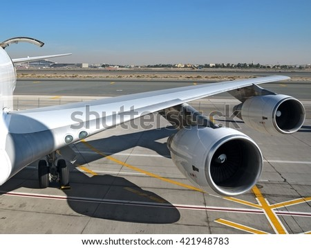 Heavy cargo aircraft wing view with cargo door open wide view - stock photo