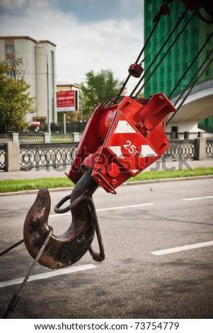 heavy crane hook - stock photo