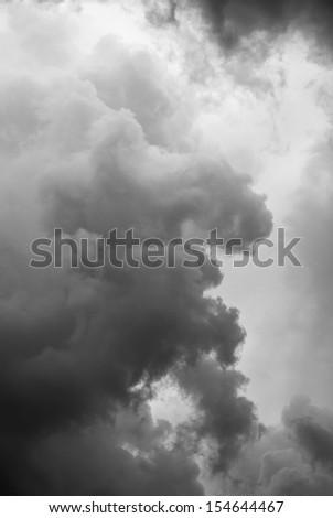 heavy dark stormy clouds background - stock photo