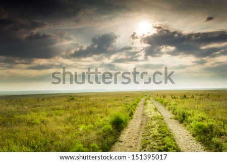 Heavy dew fills this prairie tall grass scene as this warm sunrise highlights the grass and road on a mild summer morning in the Kansas Tallgrass Prairie Preserve. - stock photo