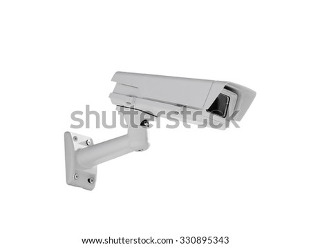 Heavy duty exterior surveillance camera side view isolated on white background - stock photo