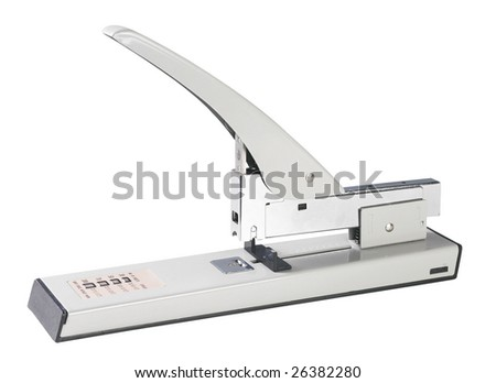 heavy duty puncher with clipping path on white background - stock photo