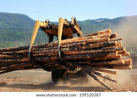 Heavy duty vehicle moving logs at a sawmill - stock photo