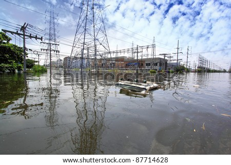 Heavy flooding in Nava nakorn, Prathumthani, Thailand - stock photo