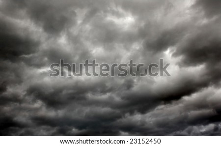 heavy gale black stormy clouds - stock photo