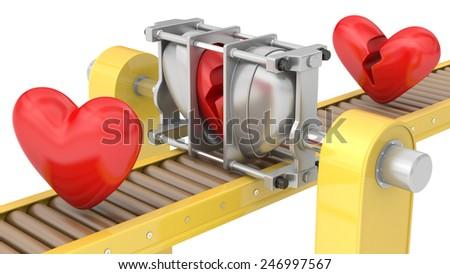 Heavy machine fixing broken hearts isolated on white background - stock photo