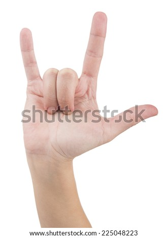 Heavy metal fingers isolated on white background. - stock photo