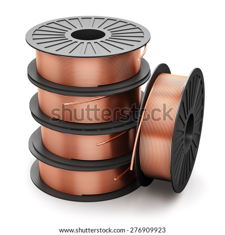 Heavy non-ferrous metallurgical industry and industrial manufacturing business production concept: heap of coils with shiny metal copper electrical power wire cables isolated on white background - stock photo