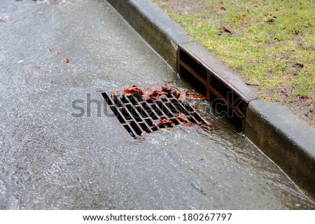 Heavy Rain, Storm Drain. Water from heavy rain flows into a storm drain.  - stock photo