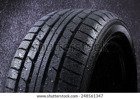 Heavy Rain Tyre - stock photo