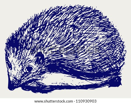 Hedgehog animal. Raster - stock photo