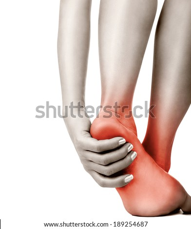 Heel pain in women. Pain concept - stock photo