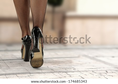 heels and street  - stock photo