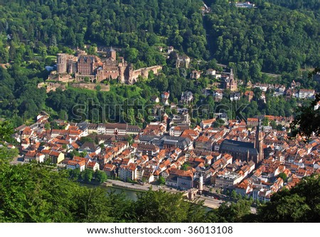 Heidelberg from above - stock photo