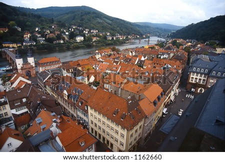 Heidelberg from the Top of Bell Tower - stock photo